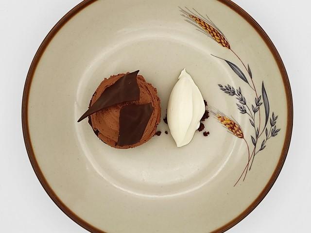 La Table du Prieuré Autour du chocolat 64% bio et équitable origine Sao Tomé, crème glacée au mélilot